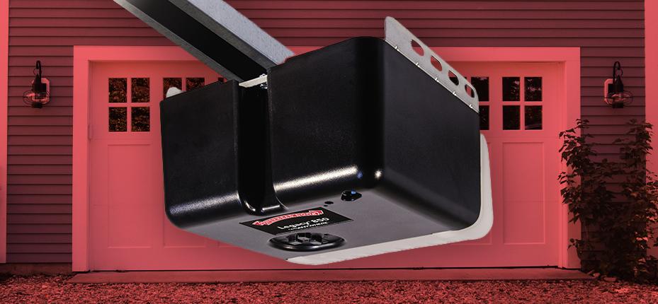 overhead door garage door opener on background of garage door with red overlay